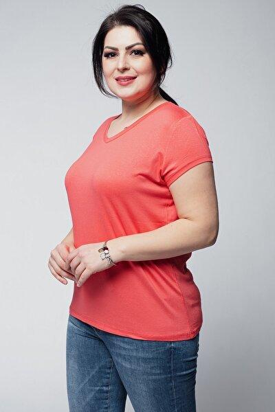 Kadın Büyük Beden V Yaka Basic Kısa Kollu Mercan Tişört