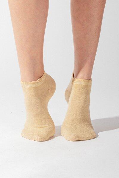 Shine Kadın Patik Çorap - Altın