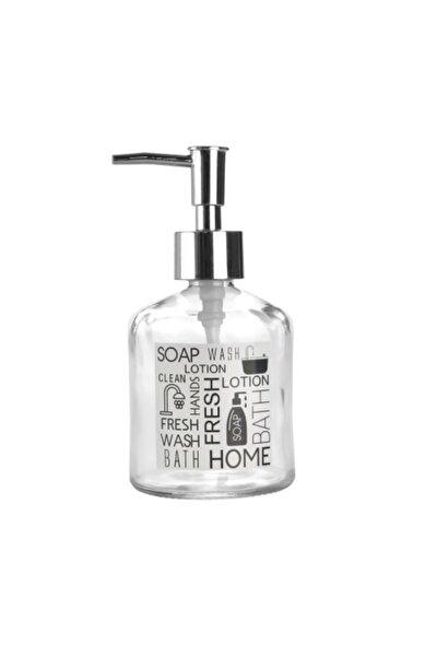 Cam Sıvı Sabunluk,beyaz Etiketli Yazılı Model 300ml 7,6x15,5cm