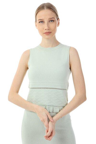 Kadın Su Yeşili Kolsuz Triko Fırfırlı Bluz Ds21kb454304