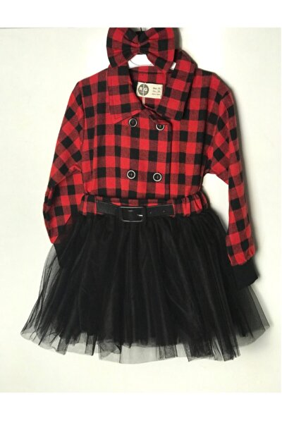 Kırmızı Kız Çocuk %100 Pamuk Elbise