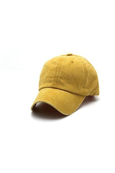 Düz Eskitme Unısex Kot Şapka