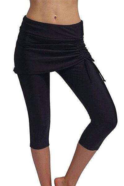 Kadın Siyah Etekli Uzun Deniz Taytı