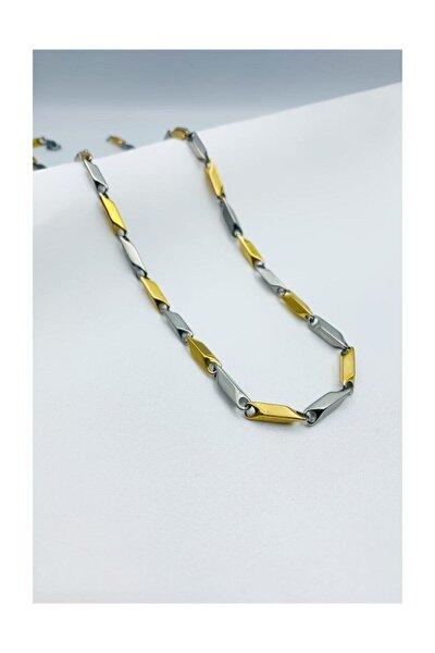 Sarı Gri Çizgili Kararmaz Çelik Zincir