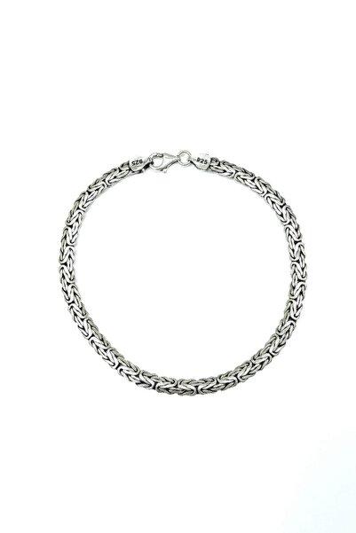 Silver Kral Bileklik Ezme Yassı Model 925 Ayar Gümüş Bileklik 4/4,5mm 21/22cm 54789