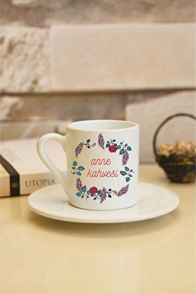 Anne Kahvesi Baskılı Beyaz Türk Kahvesi Fincanı