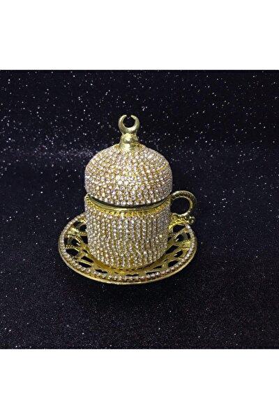 Bakır Fincan - Swarovski Taşlı Fincan - Taşlı Fincan - Damat Fincan - Osmanlı Fincan - Tekli (gold)