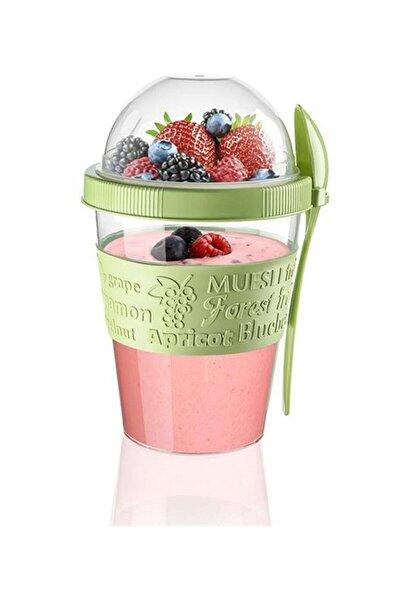 Meyve Hazneli  Kaşıklı Portatif Yoğurt Kabı Yeşil - 600 ml