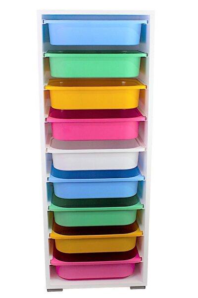 Renkli 9 Sepetli Çok Amaçlı Dolap Mutfak Oyuncak Dolabı