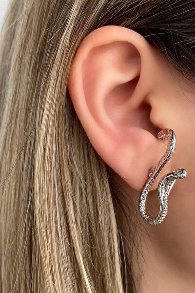 Gümüş Renk Kobra Figürlü Küpe (çift)