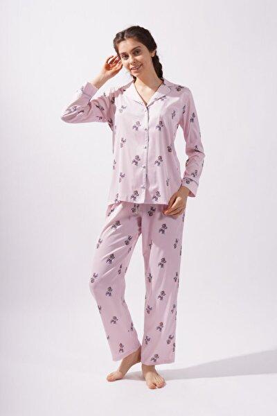 Teddy Bear Kadın Saten Pijama Altı -pembe