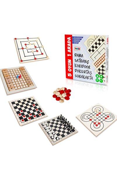 Teda Lüks Ahşap 5 Oyun 1 Arada - Beceri Eğitici Zeka Strateji Çocuk Ve Aile Oyunu