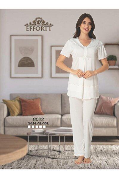 Kadın Lohusa Hamile Pijama Takımı Beyaz
