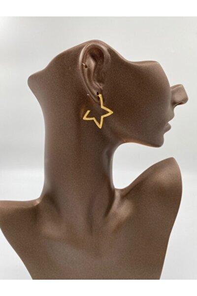 Kadın Gold Yıldız Küpe