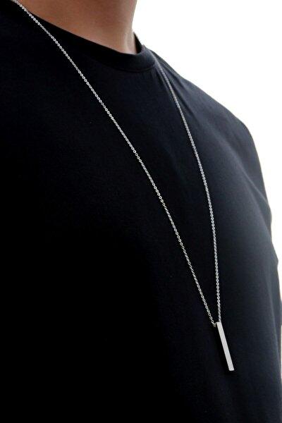 70 cm Uzun Bar Erkek Dikdörtgen Çelik Kolye
