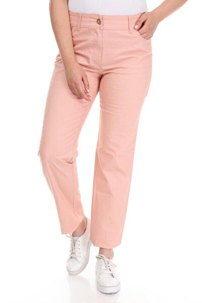 Kadın Pembe Arka Cebi Taşlı Bol Paça Pantolon UJ