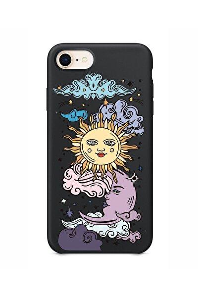 Iphone 8 Güneş Ay Tasarımlı Siyah Telefon Kılıfı