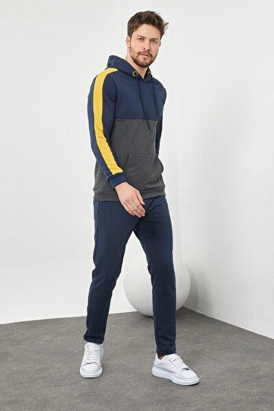Erkek Kapüşonlu Sarı Lacivert Eşofman Takımı