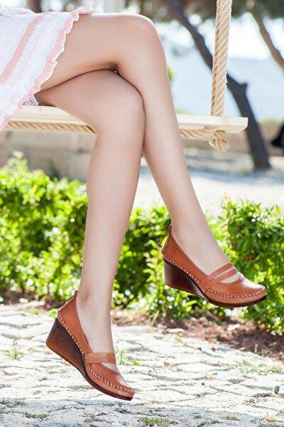 Hakiki Deri Taba Kadın Dolgu Topuklu Deri Ayakkabı Ars-0135
