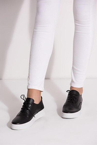 Hakiki Deri Siyah Kadın Deri Sneaker Vns-m01