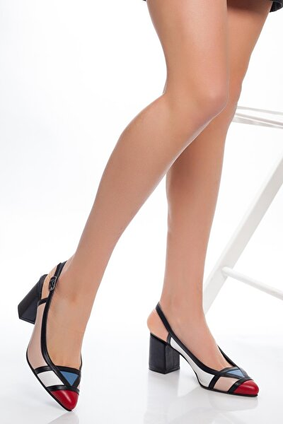 Hakiki Deri Pudra Beyaz Kadın Topuklu Deri Ayakkabı Shn-0075