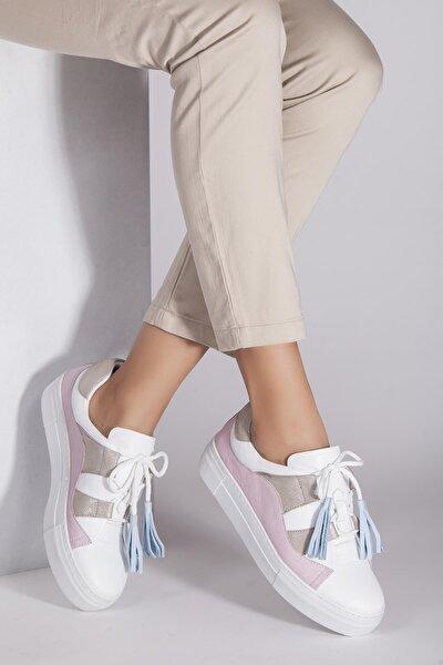 Hakiki Deri Beyaz Pudra Kadın Deri Sneaker Trc-0681