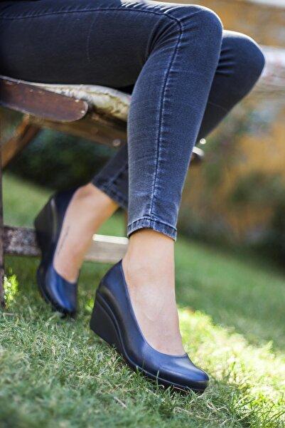 Hakiki Deri Lacivert Kadın Dolgu Topuklu Deri Ayakkabı Trc-0274