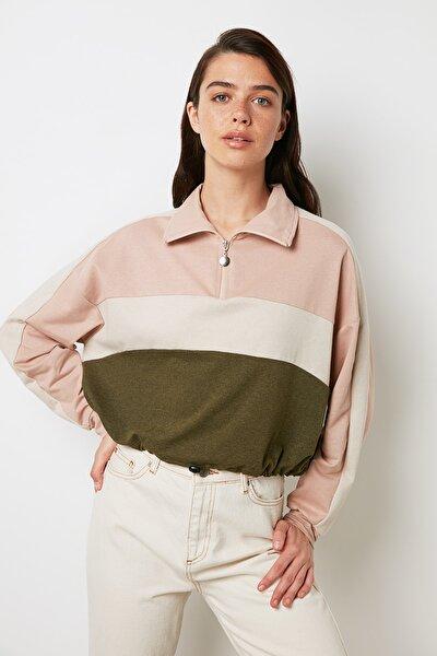 Haki Crop Örme Sweatshirt TWOAW20SW0448
