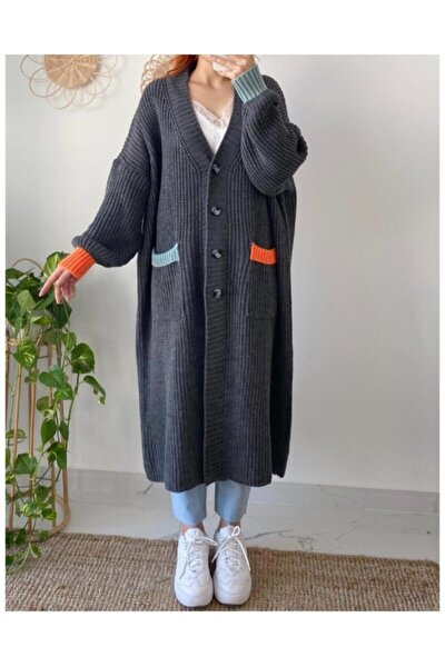 Kadın Gri Renk Detaylı Kalın Örme Uzun Triko Hırka