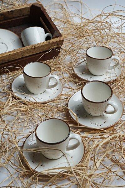 Tulu Porselen Luna Krem 6 Kişilik Kahve Fincan Takımı
