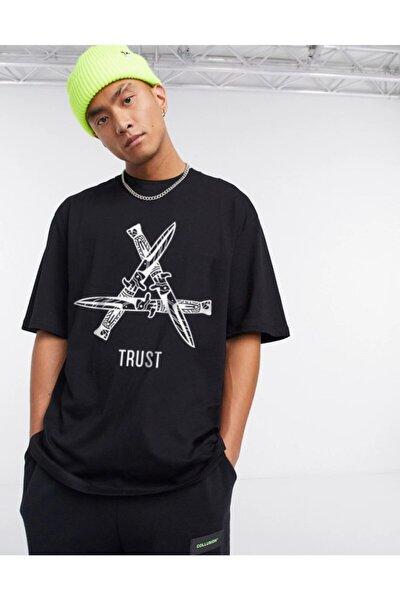 Unisex Siyah Trust Oversize Tshirt