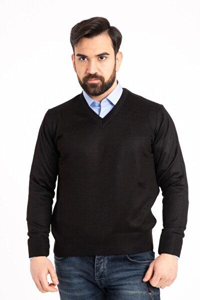 Erkek Ince Yün Triko Örgü V Yaka Kazak Bluz