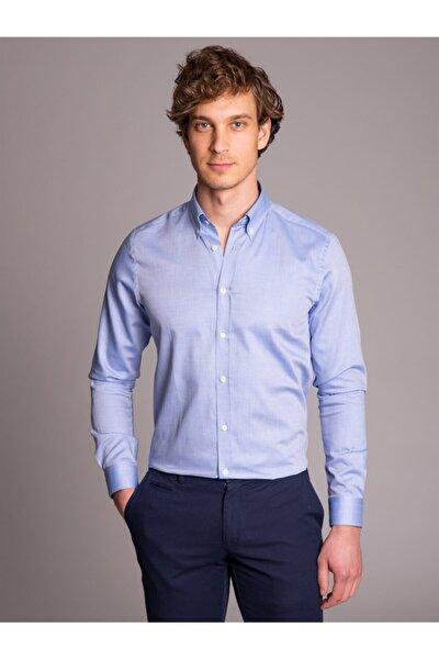 Koyu Mavi Pamuklu Oxford Klasik Erkek Gömlek - Slım Fıt