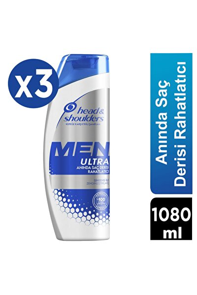 Men Ultra Erkeklere Özel Kepek Karşıtı Şampuan Anında Saç Derisi Rahatlatıcı 360 ml X 3