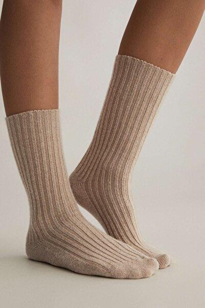 Kadın Altin Kahverengi Kalın Fitilli Örgü Çorap