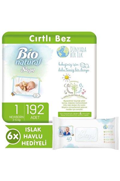 Bio Natural Bebek Bezi 1 Numara Yenidoğan 192 Adet + 6x40 Bio Natural Islak Havlu