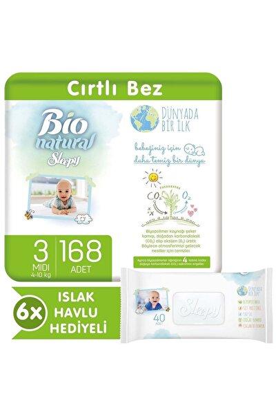 Bio Natural Bebek Bezi 3 Numara Midi 168 Adet + 6x40 Bio Natural Islak Havlu
