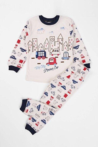 Çocuk Pijama Takımı Araba Baskılı 1-3 Yaş Lacivert