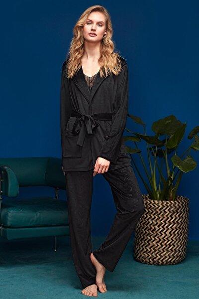 Kadın Siyah 3'lü Pijama Set