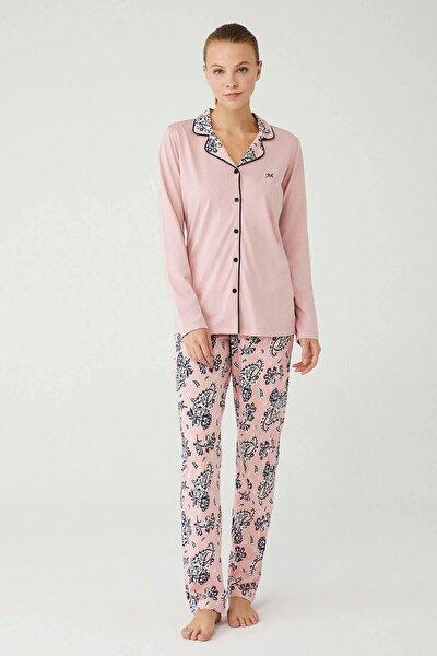 Mod Collectıon Kadın Pembe Boydan Patlı Pijama Takımı