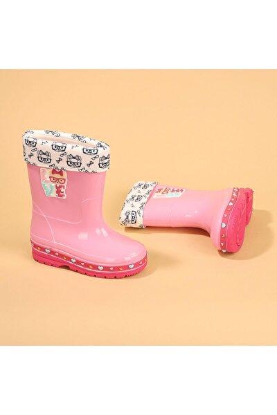 Kız Çocuk Pembe 00575-560 Yağmur Su Geçirmez  Çizme Bot