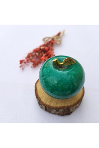 Doğal Taş Elma - 5 Cm Onyx Taşı Yeşil Elma - Mermer Elma