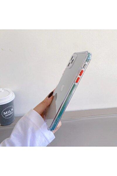 Iphone 11 Hafif Şeffaf Renkli Düğmeler Darbeye Dayanıklı Arka Kapak