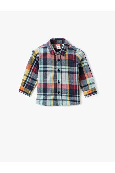 Erkek Çocuk Lacivert Klasik Yaka Kareli Uzun Kollu Gömlek