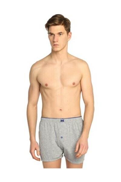 Erkek Gri  Penye Düğmeli Boxer 10'lu Paket