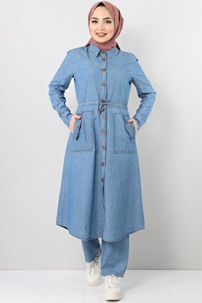 Kadın Açık Mavi Beli Bağcıklı Düğmeli Kot Ikili Takım Tsd0460