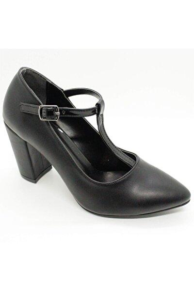 105 Siyah Bayan Kalın Topuklu Bilekten Bağlamalı Ayakkabı
