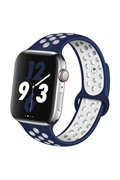 Watch Silikon Delikli Kordon Iwatch Uyumlu Kayış Seri 1 | 2 | 3 | 4 | 5  42mm/44mm - Lacivert Beyaz