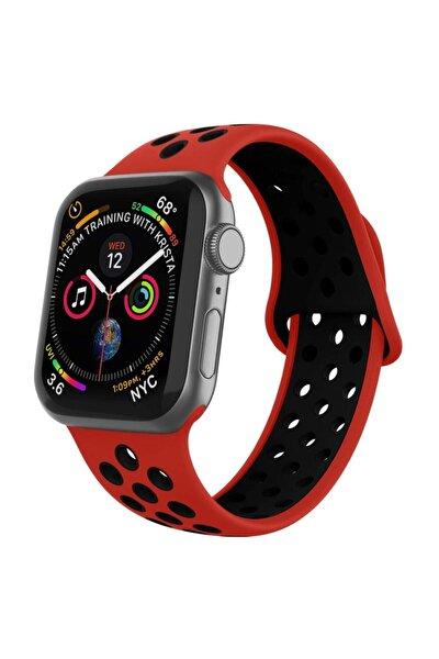 Apple Watch Silikon Delikli Kordon 1 | 2 | 3 | 4 | 5 - 38mm/40mm - Kırmızı Siyah