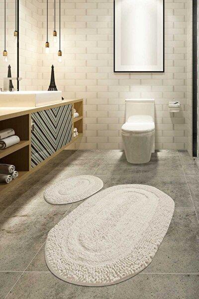 MACORONİ EKRU 2 Lİ SET Banyo Halısı, Paspası %100 Doğal Pamuklu